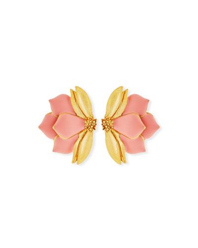 Painted Bold Petal Clip-On Earrings
