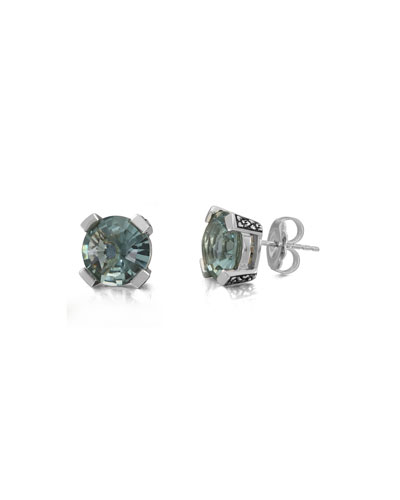 Aqua Quartz Floral Stud Earrings