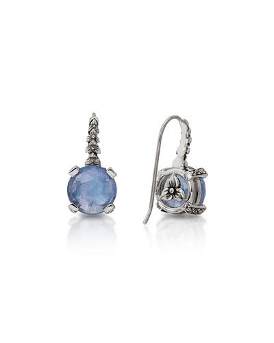 Blue Quartz Floral Drop Earrings
