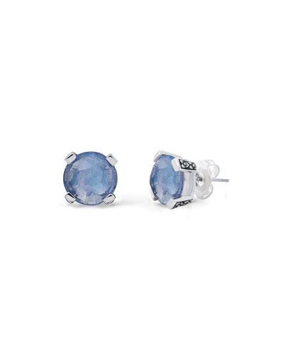 Blue Quartz Floral Stud Earrings