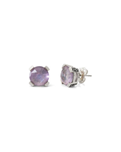 Amethyst Floral Stud Earrings