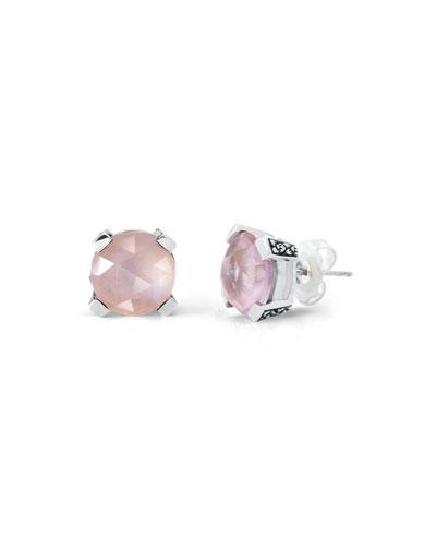 12mm Rose Quartz Triplet Earrings