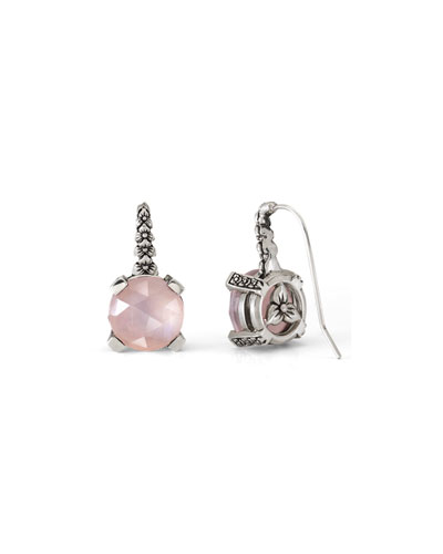 Rose Quartz Floral Drop Earrings