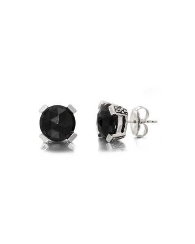 Black Agate Floral Stud Earrings