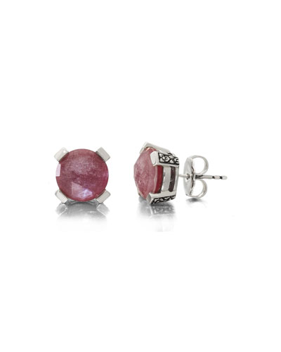 Red Quartz Floral Stud Earrings