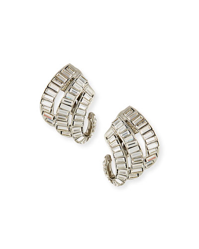 Baroque Baguette Crystal Clip-On Earrings