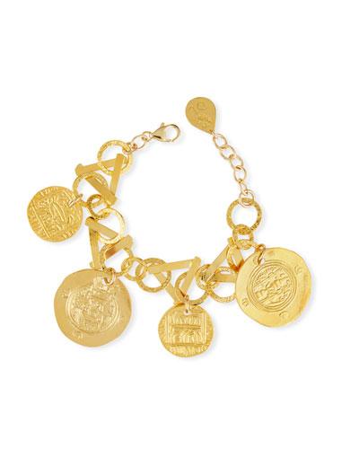 Golden Coin Charm Bracelet