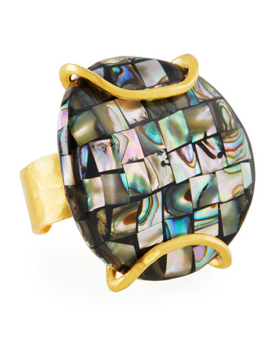 18k Plated Pearlescent Ring