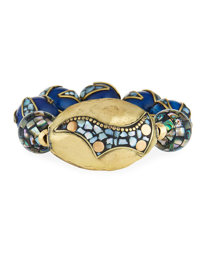 18k Gold-Plated Pearlescent Bead Bracelet