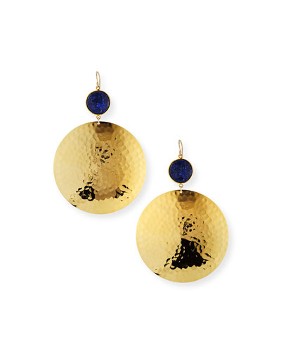 Lapis Hammered-Disc Drop Earrings
