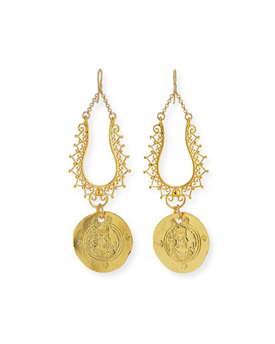 Filigree Coin Drop Earrings