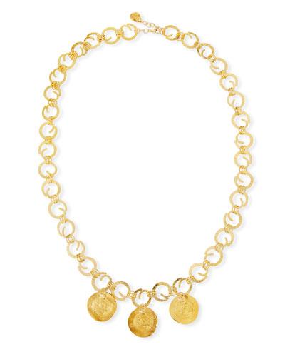Devon Leigh Long Swirl Coin Charm Necklace 2bxyjft