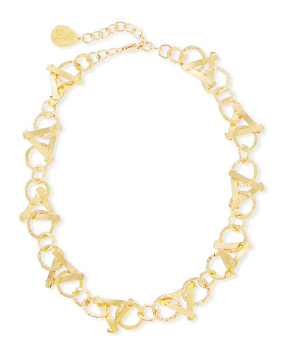 Short Golden Triangle-Link Necklace