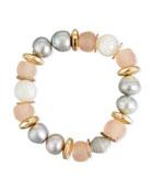 Moonstone & Pink Glass Beaded Bracelet