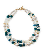 Turquoise & Pearly Bead Necklace, 40""