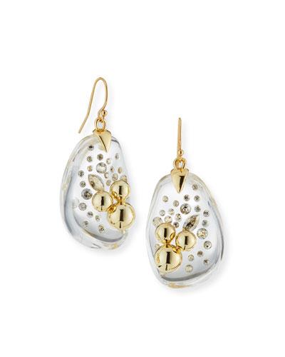 Diamond Dust Wire Drop Earrings