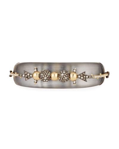 Orbiting Crystal Hinged Cuff Bracelet