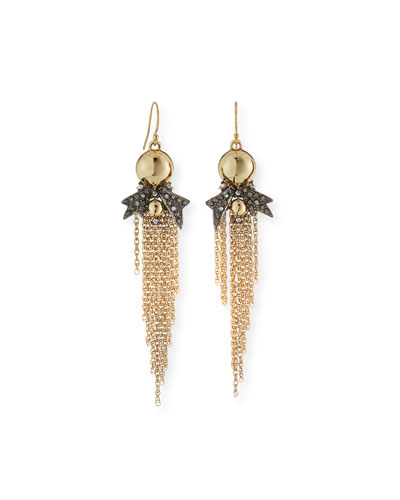 Crystal Pavé Tassel Drop Earrings