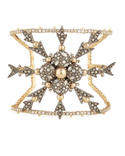 Pavé Crystal Snowflake Cuff Bracelet
