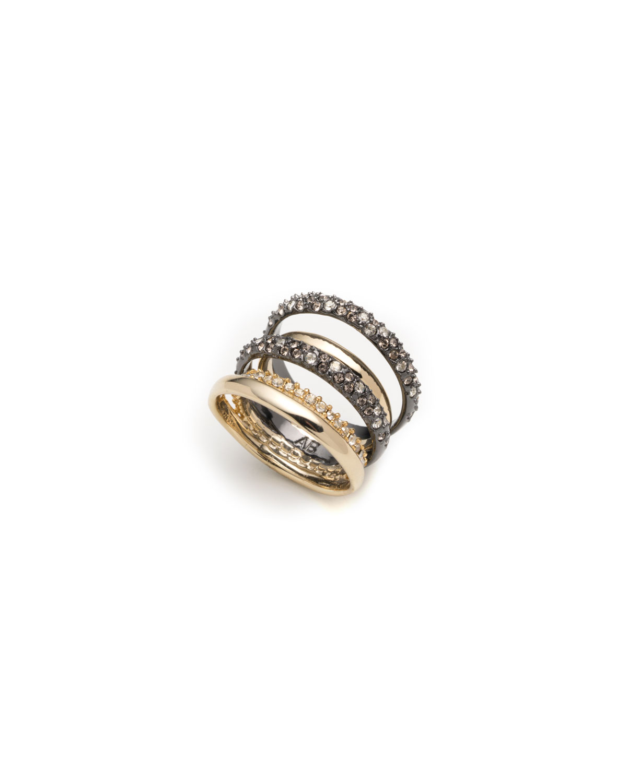 Pave Orbit Five-Row Ring