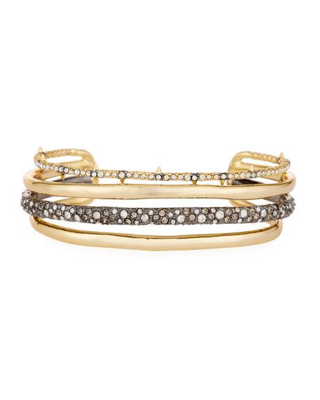 Alexis Bittar Orbit Four-Row Crystal Cuff Bracelet