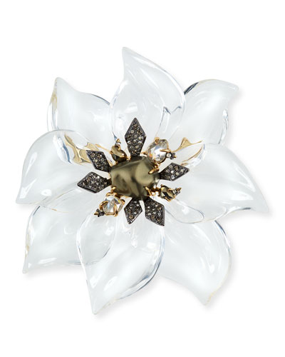Lucite Floral Brooch with Crystals