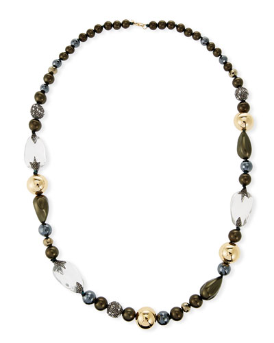 Baroque Pearly Beaded Single-Strand Necklace