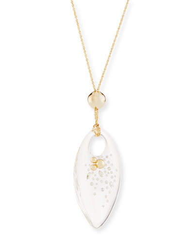 Large Lucite Marquis Pendant Necklace
