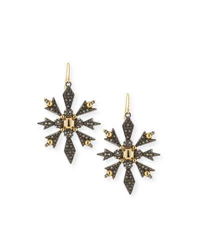 Pavé Snowflake Drop Earrings