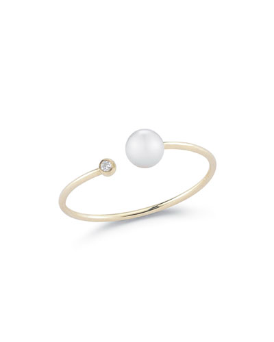 Open Pearl & Diamond Bezel Ring