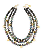 Three-Row Labradorite Beaded Necklace