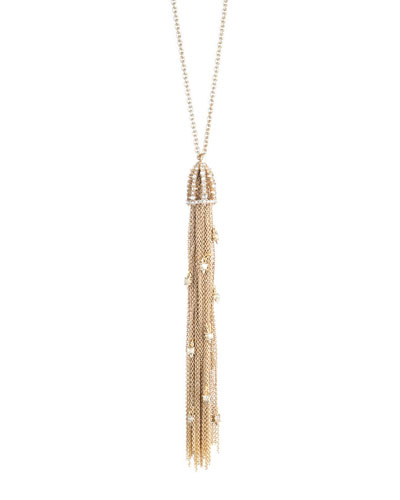 Cascading Crystal Tassel Pendant Necklace, Golden