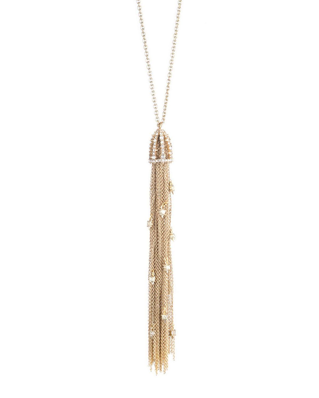 Cascading Crystal Tassel Pendant Necklace
