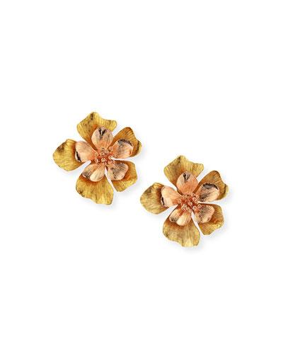 Bold Flower Stud Clip-On Earrings