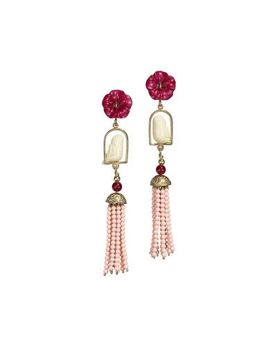 Swinger Beaded Tassel Drop Earrings, Coral