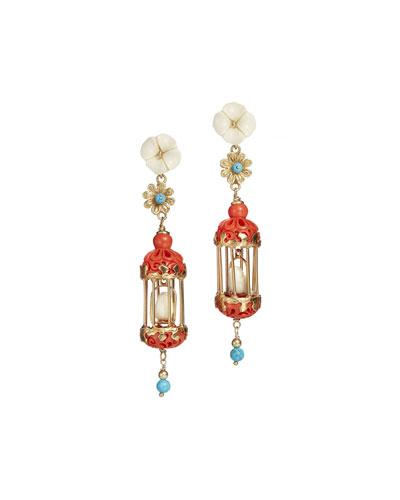 Aviary Classic Mini Drop Earrings, Coral