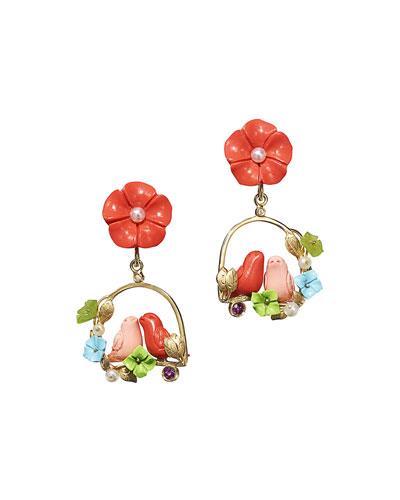 Aviary Coral Inseparable Drop Earrings