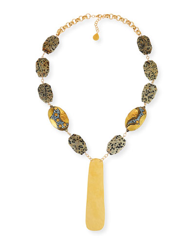 Dalmatian Jasper Station Necklace