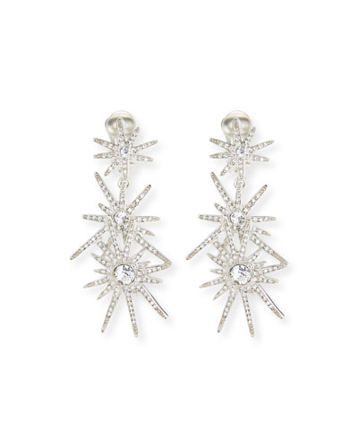 Crystal Starburst Statement Clip-On Earrings