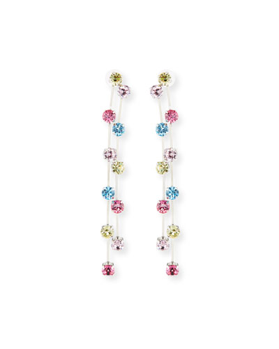 Two-Row Crystal Drop Earrings, Multi