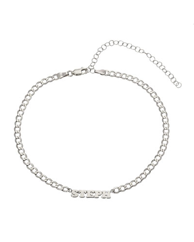 ZOE LEV JEWELRY Personalized Cuban Link Choker Necklace With Name Plate In 14K White Gold in Silver