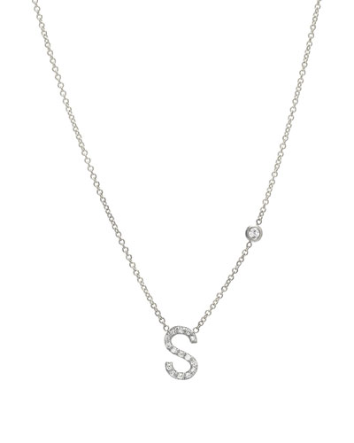 Personalized Diamond Initial & Bezel Necklace in 14K White Gold