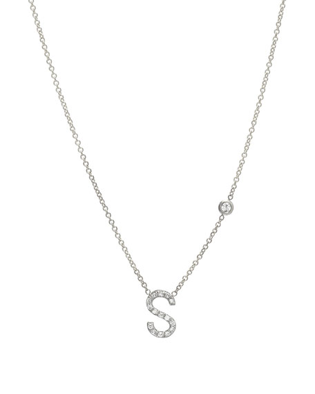 Zoe Lev Jewelry Personalized Diamond Initial & Bezel Necklace in 14K White Gold