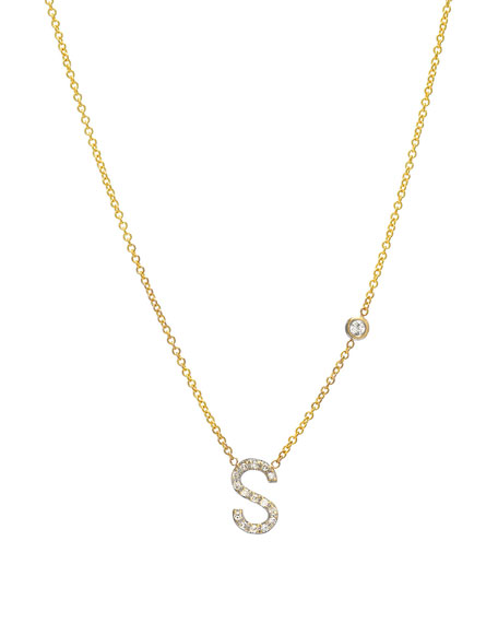 Zoe Lev Jewelry Personalized Diamond Initial & Bezel Necklace in 14K Yellow Gold