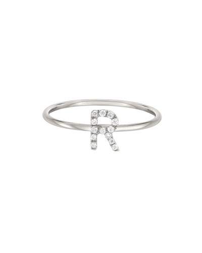 Personalized Diamond Initial Ring in 14K White Gold