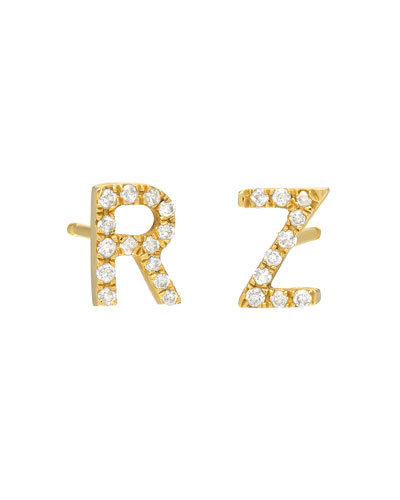 alphabet studs earrings gold post amazon letter stud com dp initial