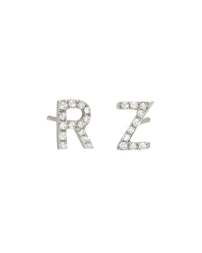 Personalized Diamond Initial Stud Earrings in 14K White Gold