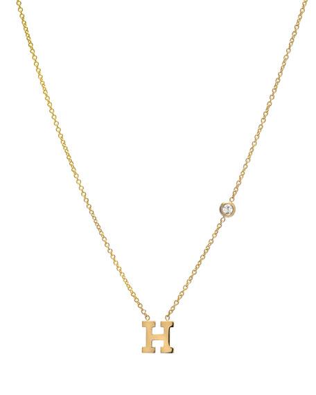Zoe Lev Jewelry 14k Yellow Gold Personalized Initial & Diamond Bezel Necklace