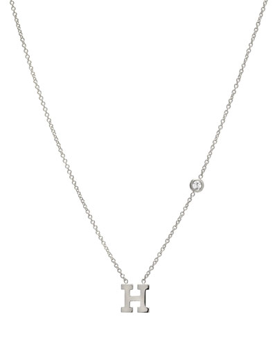 Personalized Initial & Diamond Bezel Necklace in 14K White Gold