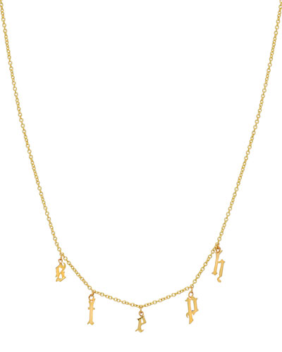 ZOE LEV JEWELRY Personalized Gothic Initial Charm Necklace In 14K Yellow Gold